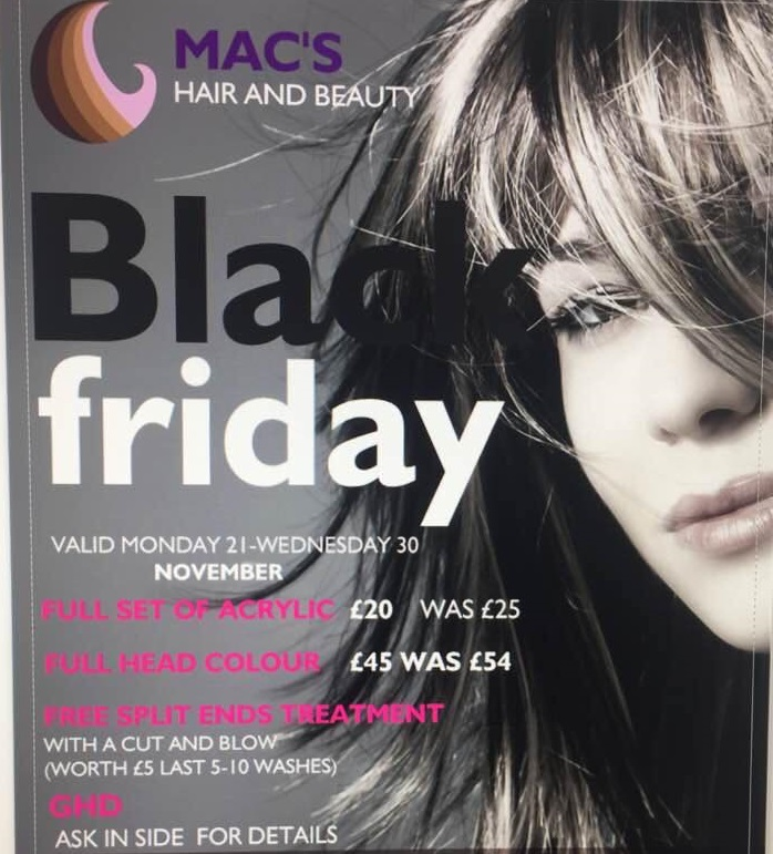 Black Friday Offers at Mac's Hair, offers valid until 30th November